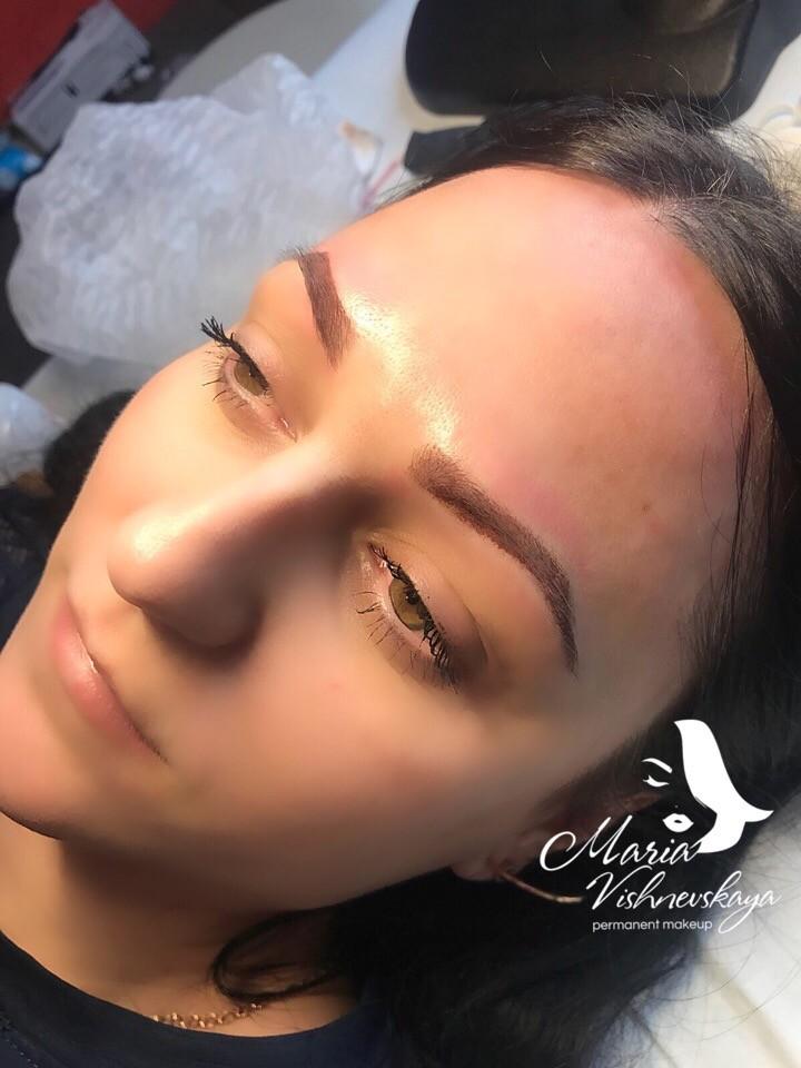 Перманентный макияж пудровые брови